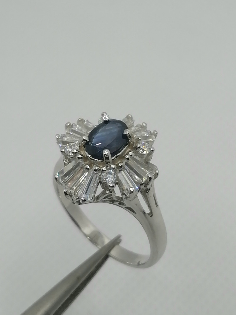 Natural Blue Sapphire and CZ Ring.