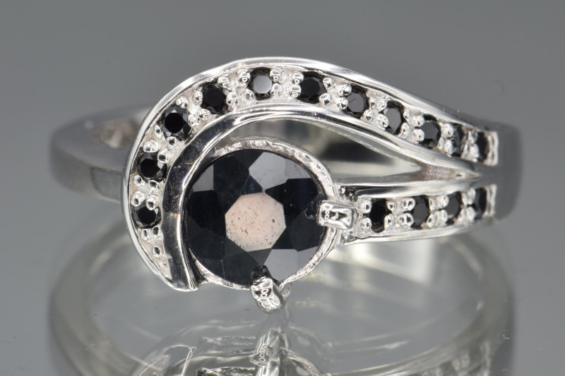 Heated Natural Blue Sapphire, CZ and 925 Silver Ring
