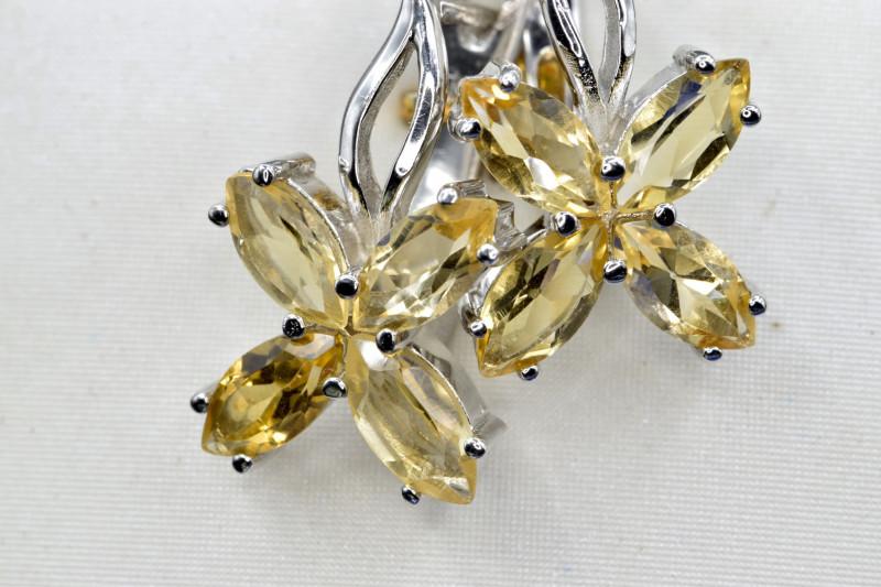 Natural Citrine and 925 Silver Earring, Elegant Design