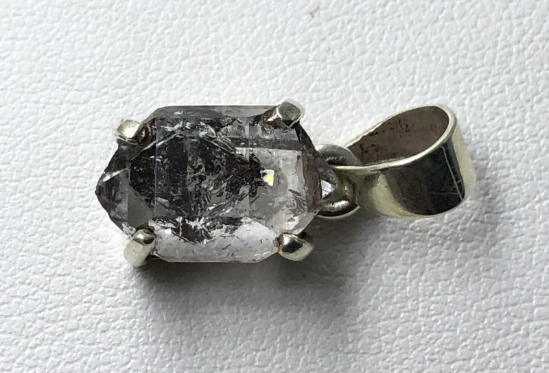 Natural Herkimer Diamond Quartz Rough Crystal Hand Made 925 Silver Pendant
