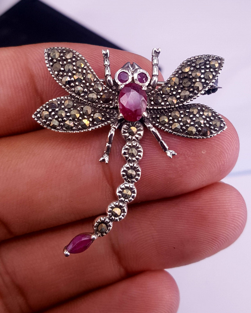Dragon Fly Antique design  Natural ruby brooch.