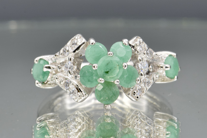 Natural Emerald, CZ and 925 Silver Ring