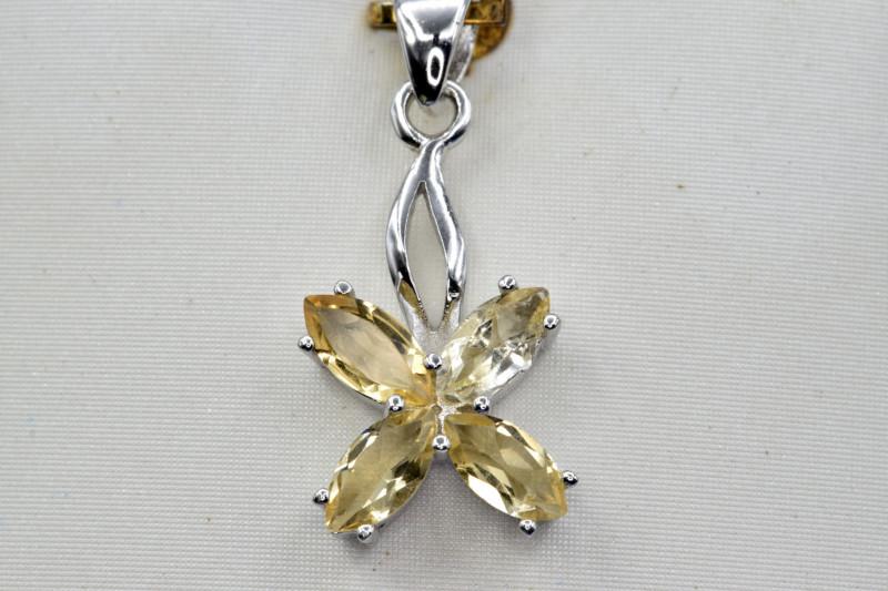 Natural Citrine and 925 Silver Pendant, Elegant Design