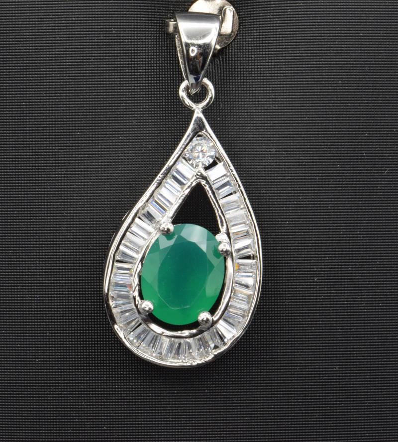 Natural Green Agate, CZ 925 Silver Pendant
