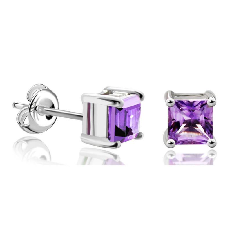 Sterling Silver Princess-Cut Gemstone Stud Earrings