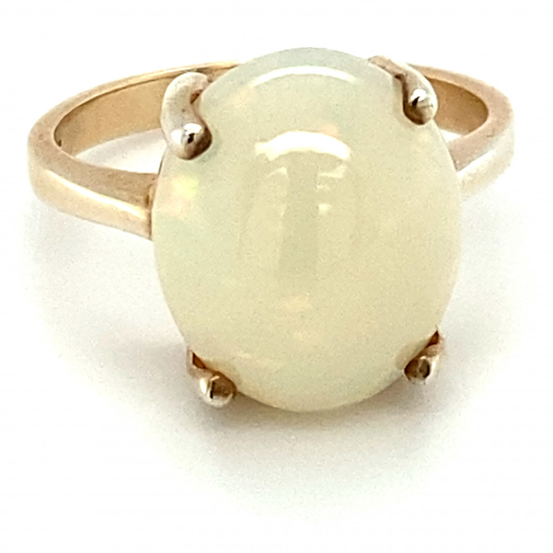 Precious Opal 7.30ct Golden Rhodium Finish Solid 925 Sterling Silver Ring