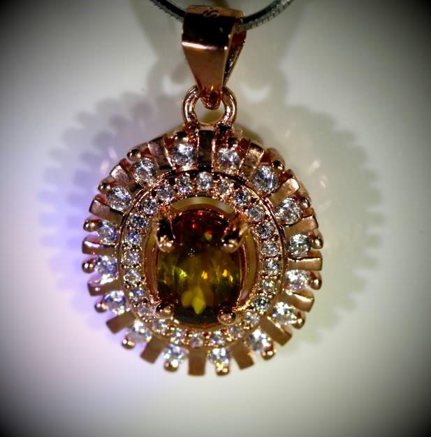 Sphene 1.10ct Rose Gold Finish Solid 925 Sterling Silver Pendant