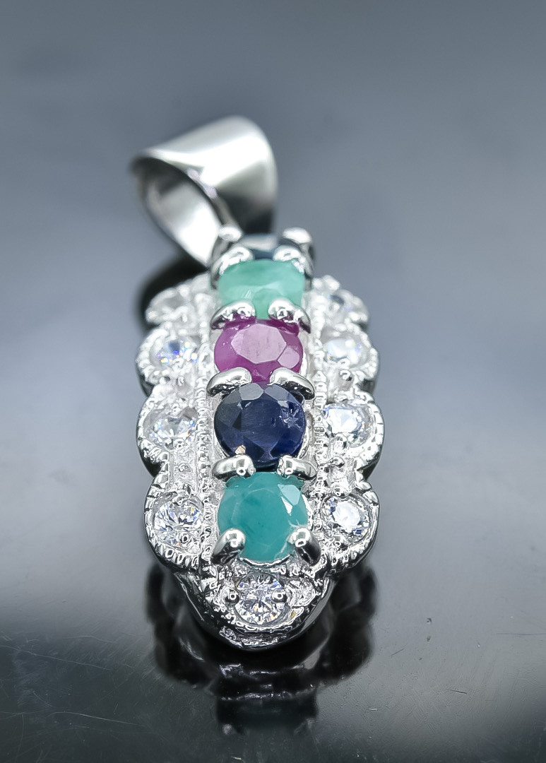 6.54 Crt Natural Ruby Emerald and Sapphire 925 Silver Pendant