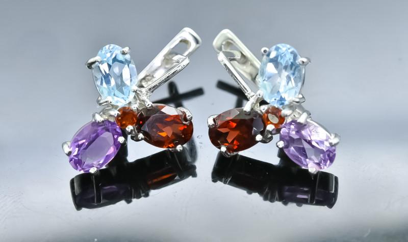 28.00 Crt Natural Garnet Topaz And Amethyst  925 Silver Earrings