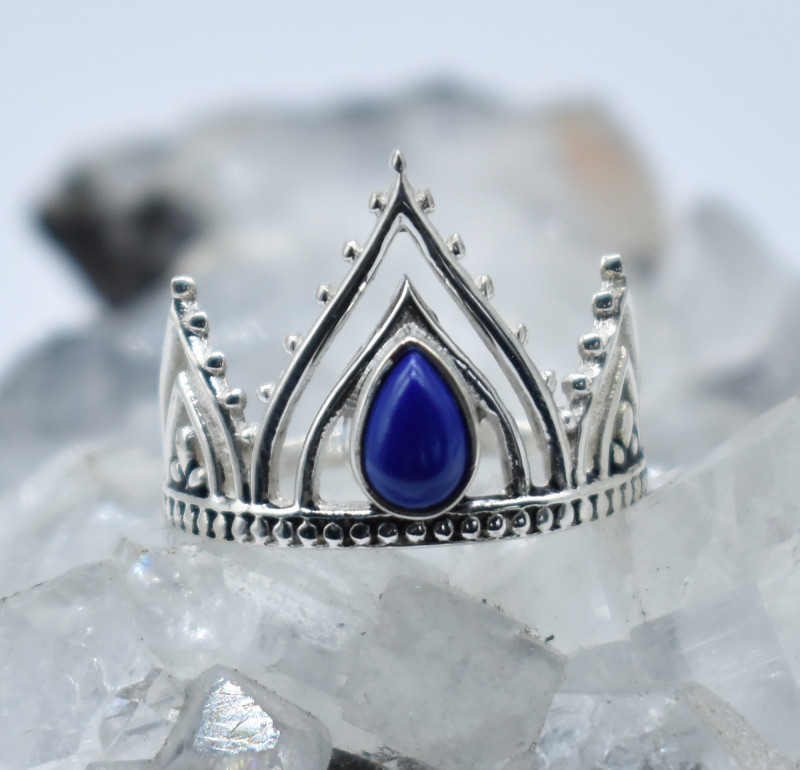 LAPIS RING 925 STERLING SILVER NATURAL GEMSTONE JR870