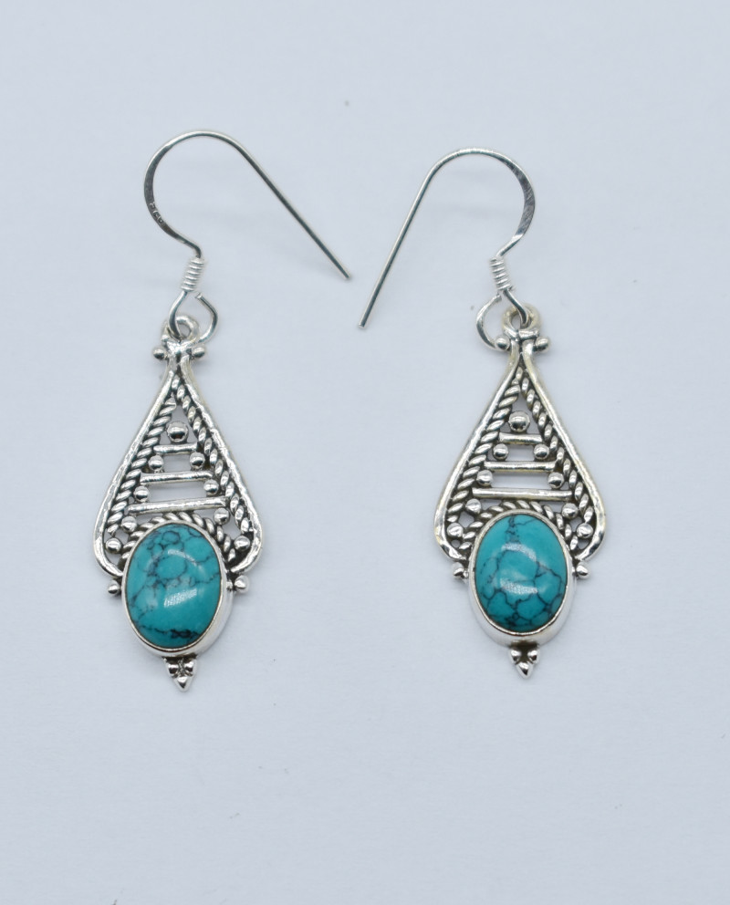 TURQUOISE EARRINGS 925 STERLING SILVER NATURAL GEMSTONE JE43