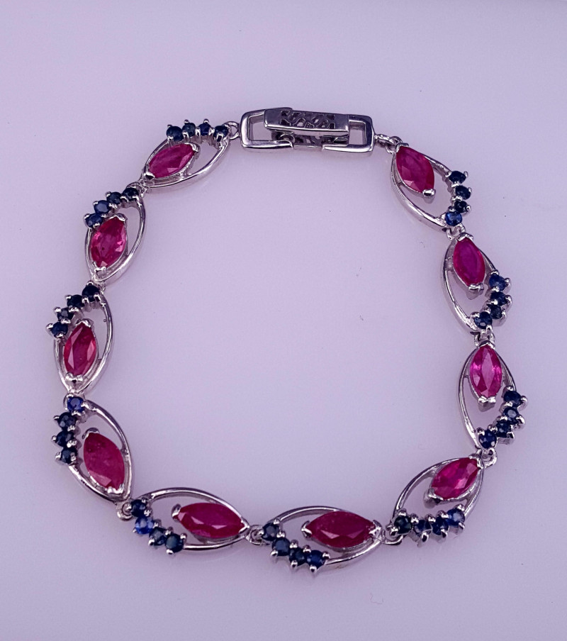 Natural Ruby and Sapphire Bracelet.