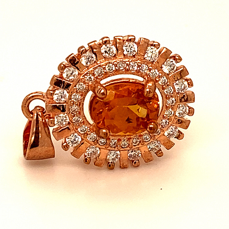 Hessonite 1.15ct Rose Gold Finish Solid 925 Sterling Silver Pendant