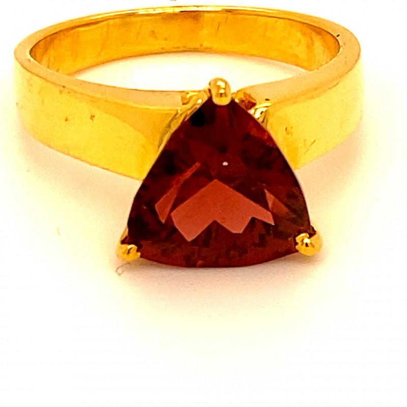 Malaya Garnet 3.76ct Solid 18K Yellow Gold Ring