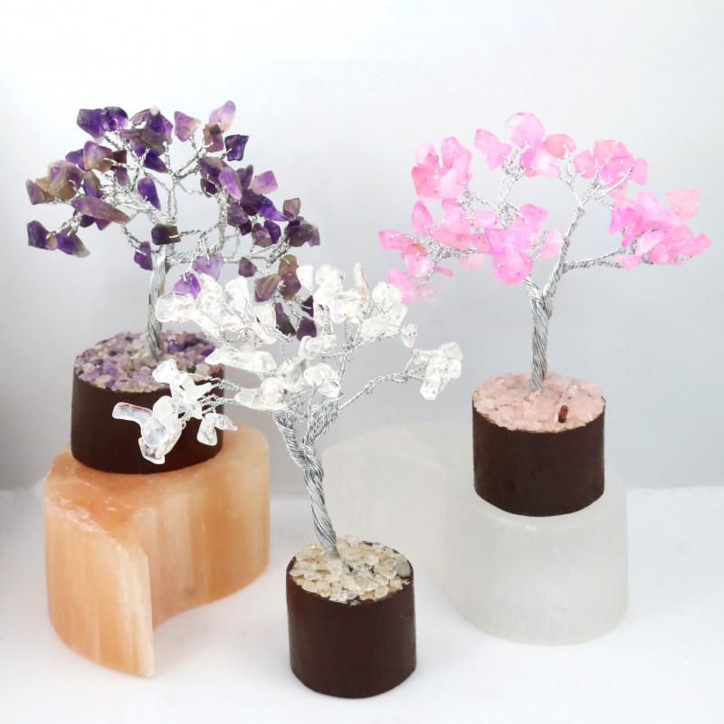 Set Three Gemstone Trees ,amethyst,rose Quartz ,Crystal code CCC 200