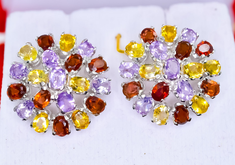 50.03 Crt Natural Amethyst Citrine And Garnet 925 Silver Earrings