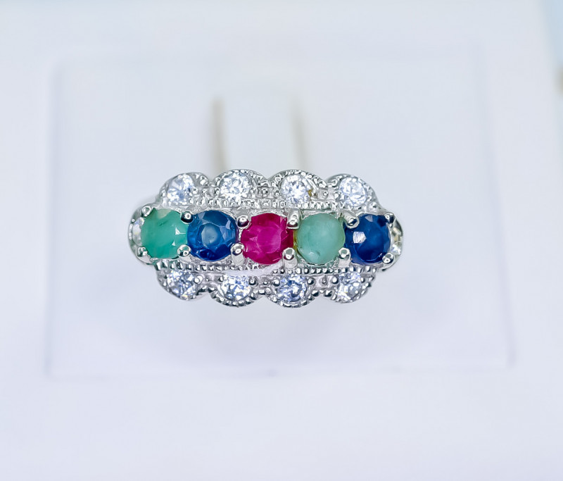 28.81 Crt Natural Ruby Emerald And Sapphire 925 Silver Ring