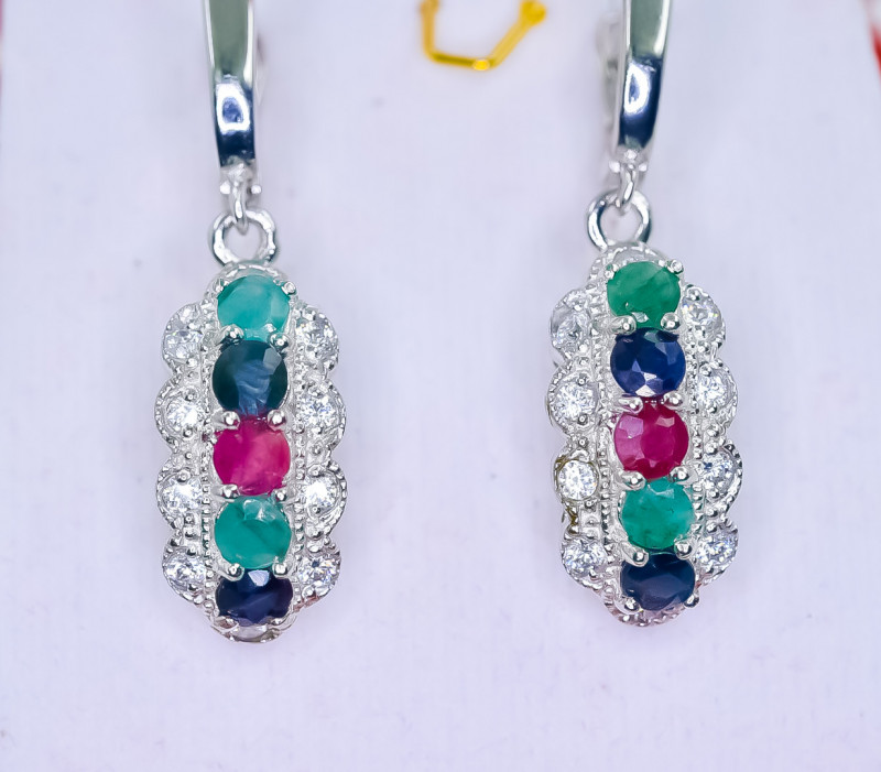 45.55 Crt Natural Ruby Emerald and Sapphire 925 Silver Earrings