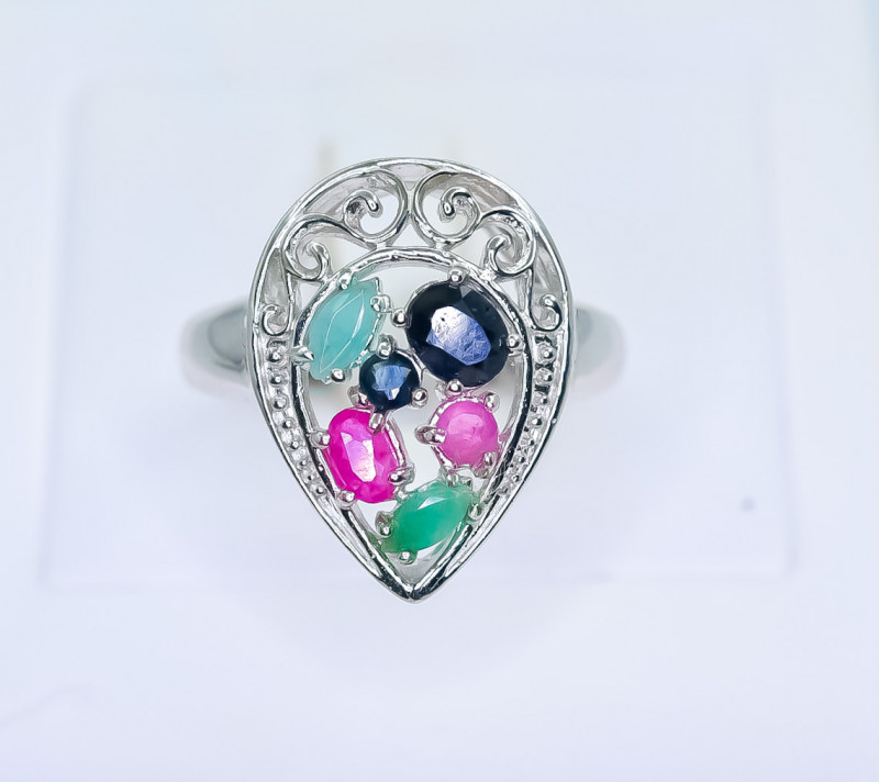 25.14 Crt Natural Ruby Emerald and Sapphire 925 Silver Ring