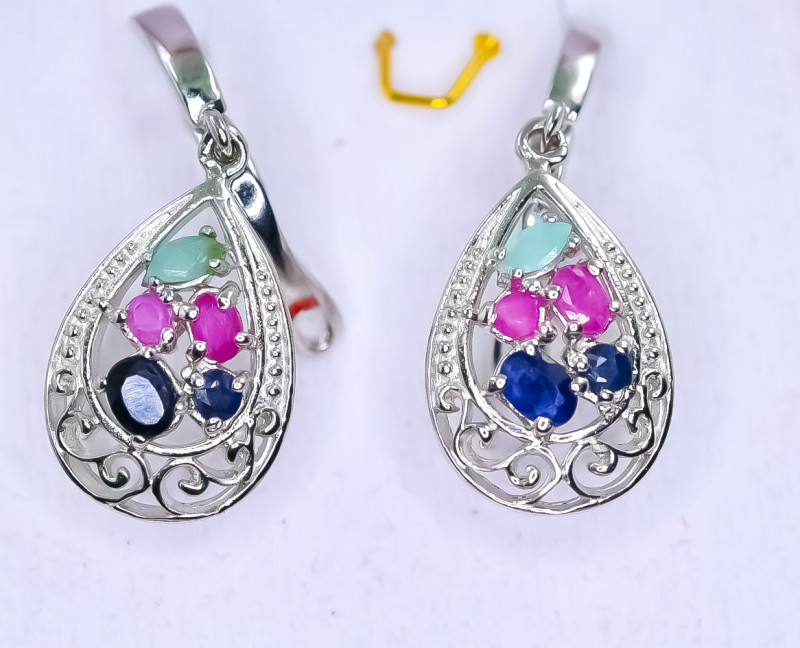 29.83 Crt Natural Ruby Emerald And Sapphire 925 Silver Earrings
