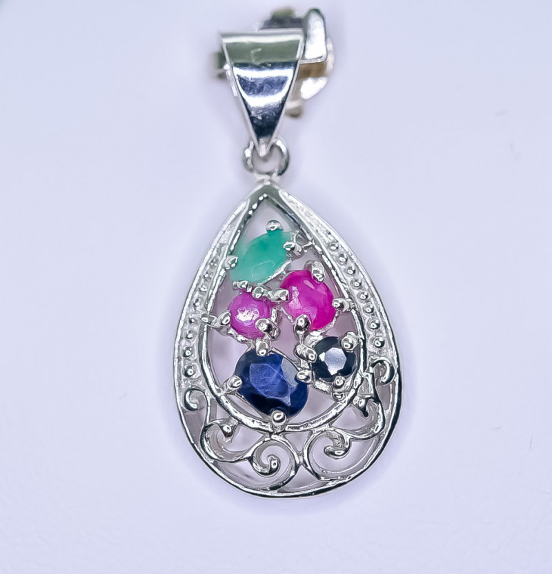 12.08 Crt Natural Ruby Emerald and Sapphire 925 Silver Pendant