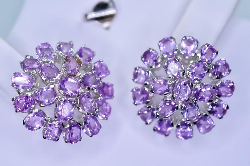 47.21 Crt Natural Amethyst 925 Silver Earrings