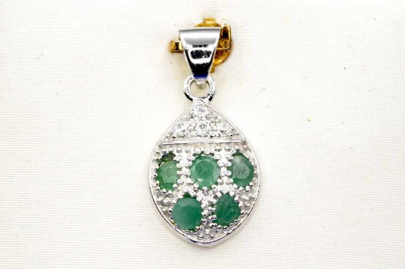 Natural Emerald, CZ and 925 Silver Pendant, Elegant Design