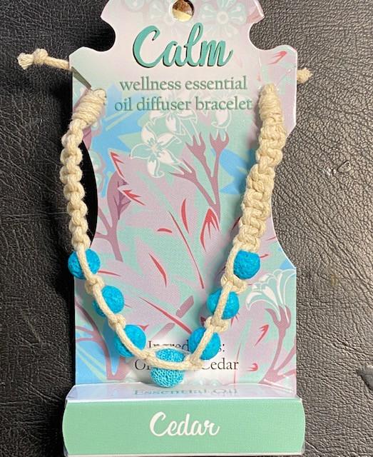 Cedar  Wellness Oil Diffuser Lava stone Bracelet code WELLOIL
