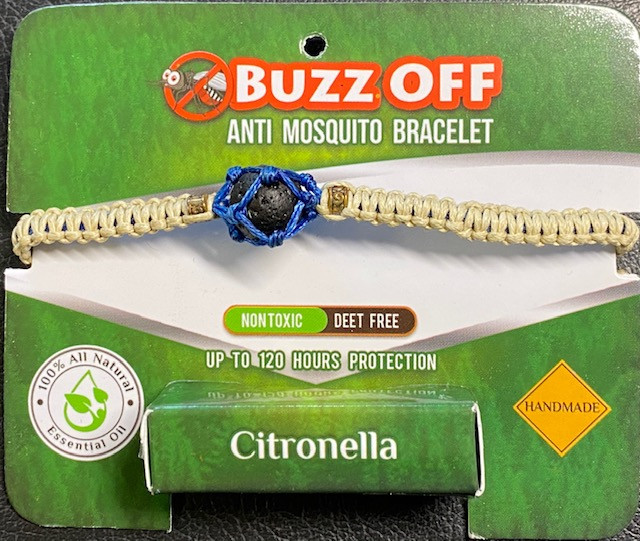 insect Repellent Citronella in lava Stone Bracelet Blue wrap code CITBRA