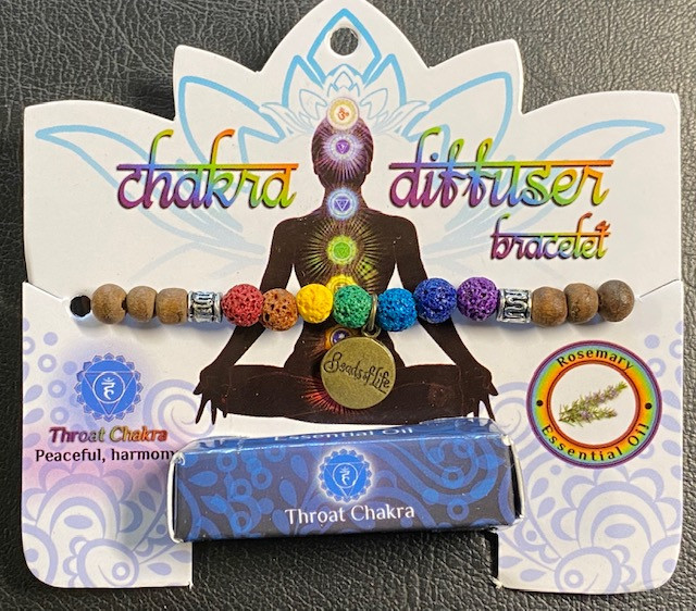 Throat Chakra Tree Of life lava Stone rosemary Diffuser Bracelet Code CHAKD