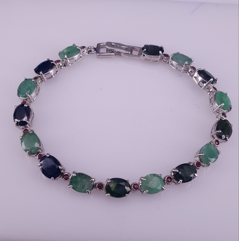 Natural emerald Sapphire and small ruby Bracelet.