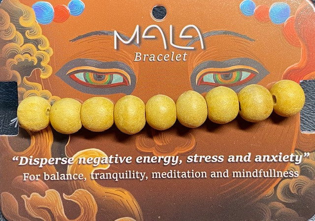 Meditation Bead Bracelet Light wood color Code BUDDMALA