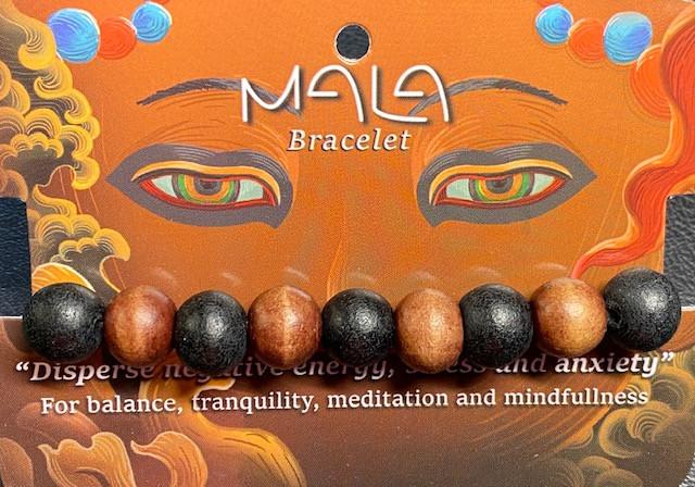 Meditation Bead Bracelet Dark  wood color Code BUDDMALA