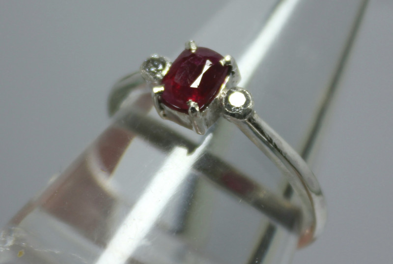 Natural Kashmir Ruby and CZ Ring.