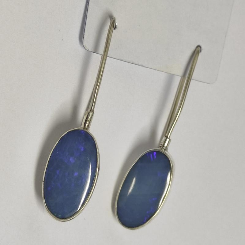 Silver earrings 950 hook with opal doublet oval shape