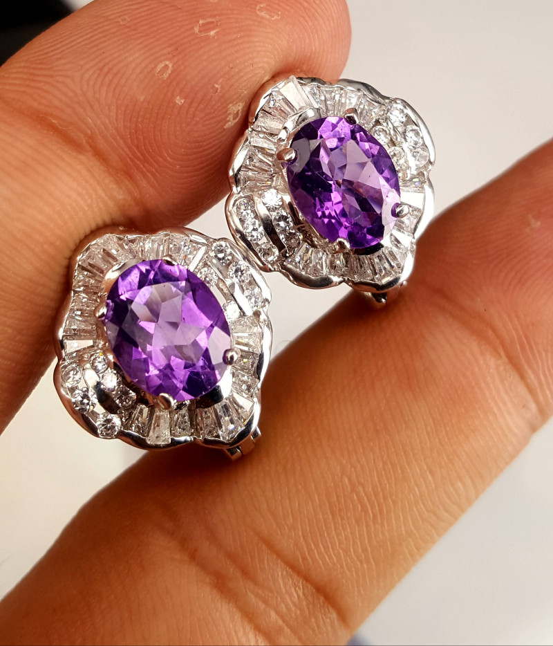 Natural Amethyst and CZ Ear Studs.