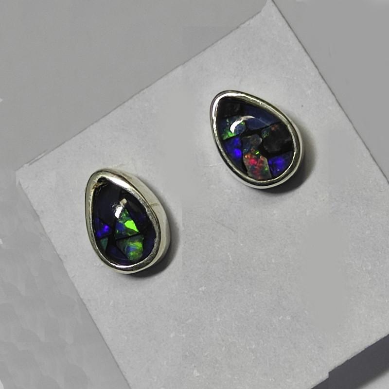 Silver 950 stud earrings with opal mosaic drop shape