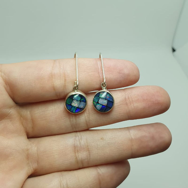 Silver earrings 950 hook with opal mosaic round shape