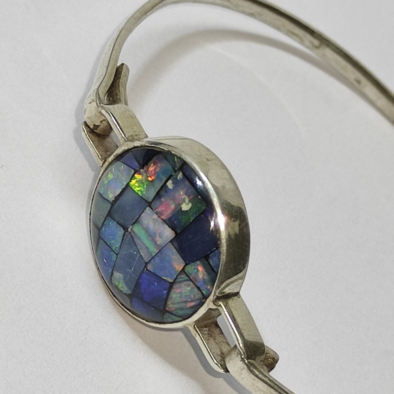 Silver bracelet 950 with opal mosaic round shape