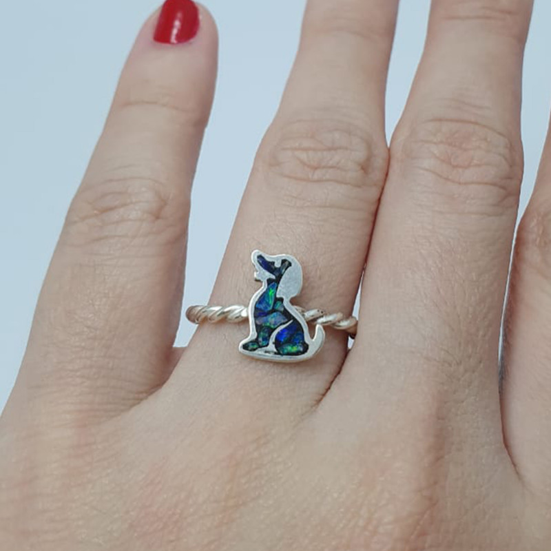 950 silver ring with dog mosaic opals