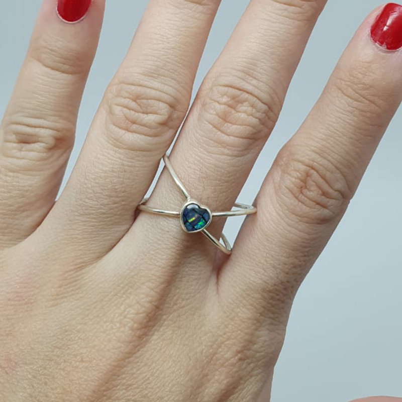 Double 950 silver ring with heart shaped mosaic opal
