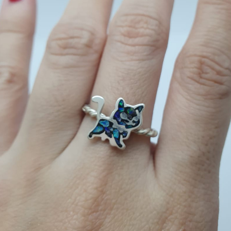 950 silver ring with cat shaped mosaic opal