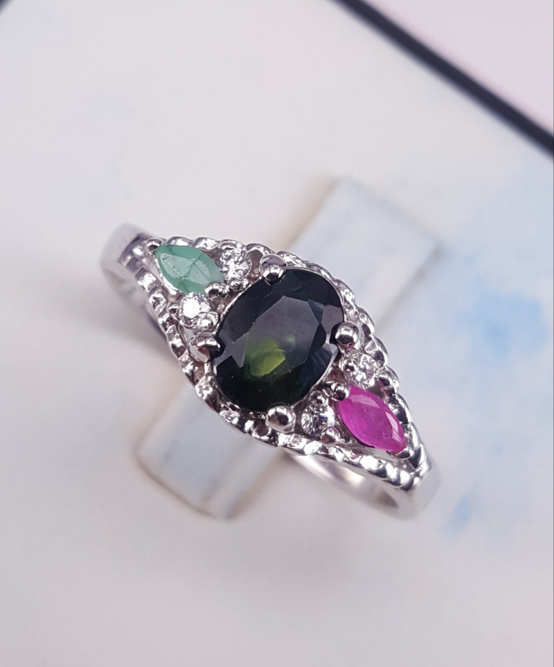 Natural Sapphire Emerald and Ruby Ring.