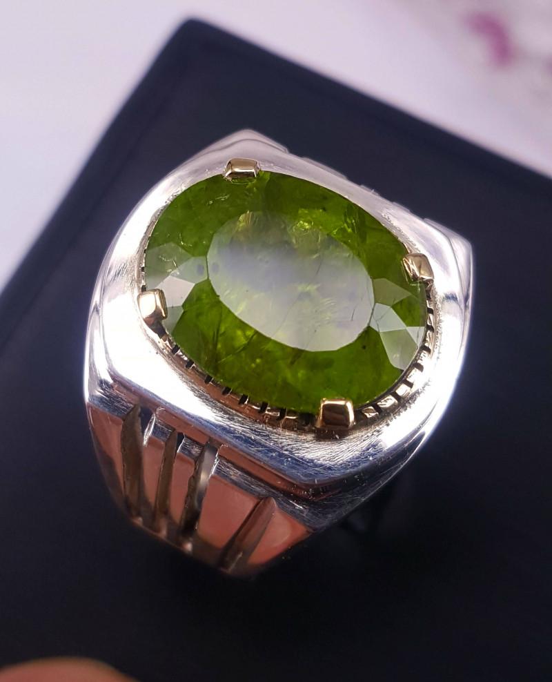 12 carat Natural Peridot men Ring.