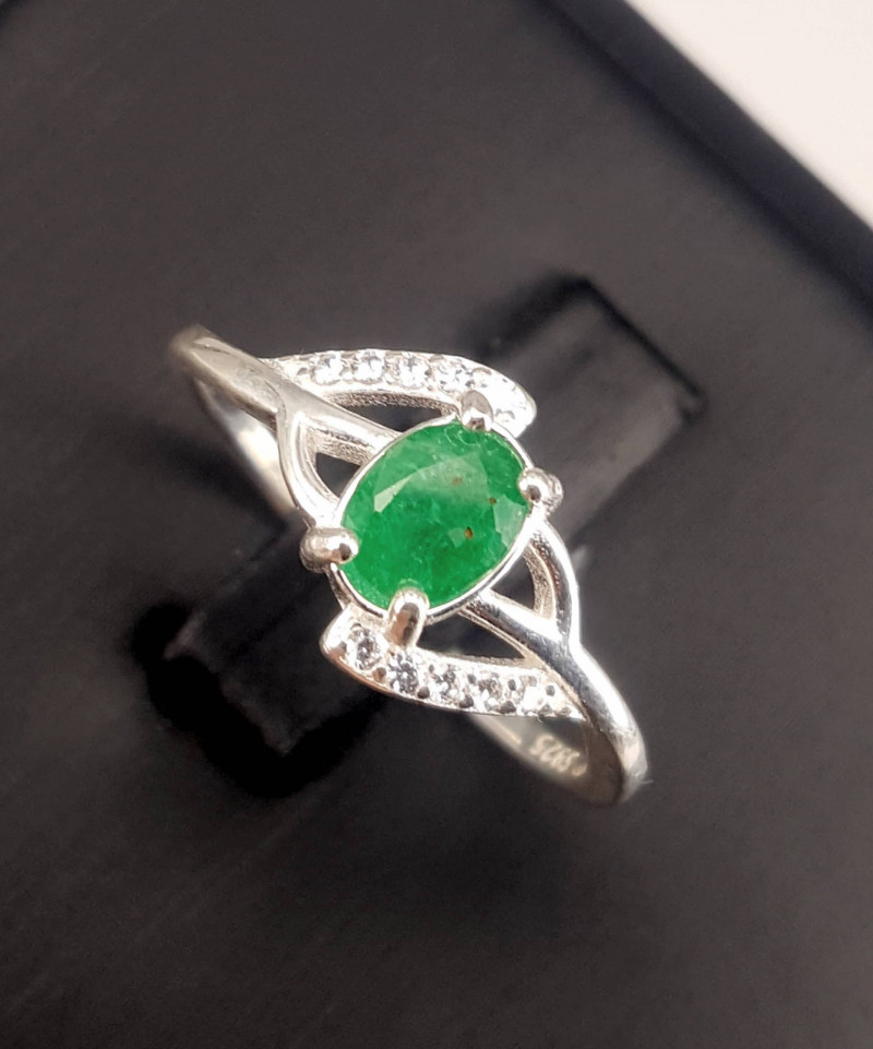 Natural Emerald with CZ Ring.
