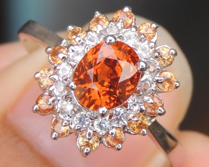 Spessartite  Garnet w/ Sapphires in Rhodium