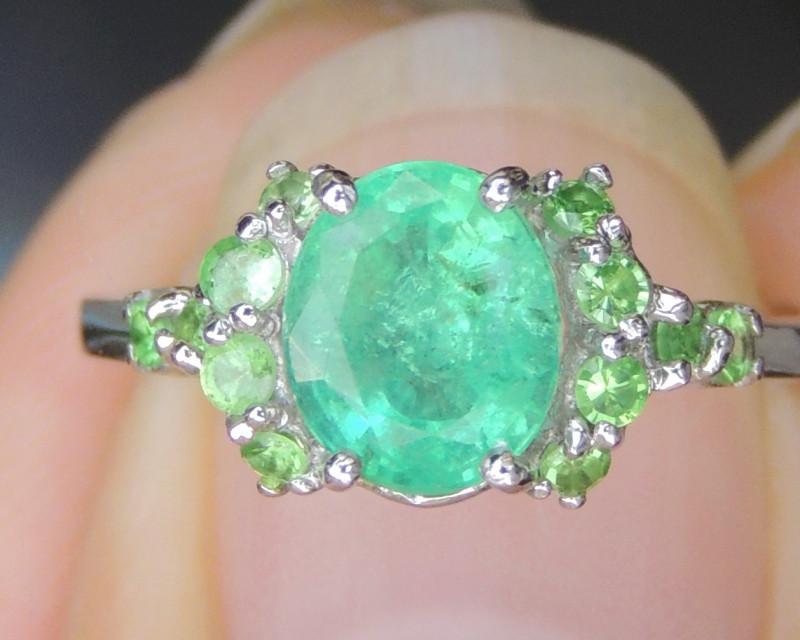 Emerald and Tsavorite in Rhodium