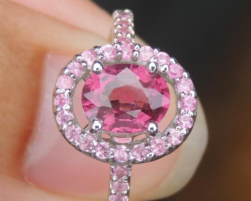 Tourmaline with Pink Sapphires in Rhodium
