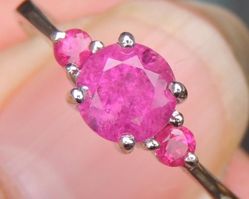 Rubellite w/ Pink Sapphries in Rhodium