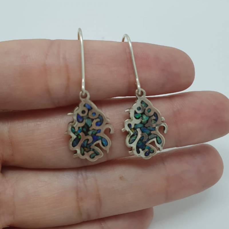 950 silver earrings with free-form mosaic opals